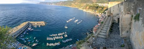 Chianalea panoramic skyline at sunset, Scilla, Calabria - Italy.  stock photos