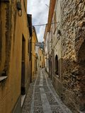 Chianalea small street at Scilla, Italy royalty free stock photos