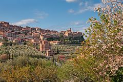 Chianciano Terme, Siena, Tuscany, Italy: landscape at spring of the ancient hill town stock image