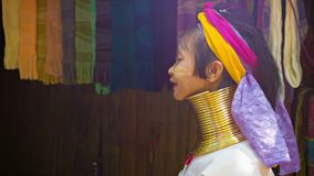 CHIAND RAI, THAILAND Kayan Lahwi (Long-Necked Kayan) woman with neck rings in hill tribe village. stock footage