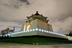Chiang kai shek. A side view of the chiang kai shek monument in a cloudy winter night Stock Photo