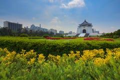 Chiang Kai-shek Memorial Hall. Flower garden infront of Chiang Kai-shek Memorial Hall on a sunny day, Taipei, Taiwan Stock Photos