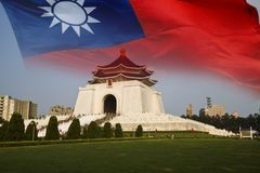 Chiang kai shek memorial hall with Taiwan flag Royalty Free Stock Image