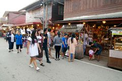 People walk and shopping in old town thai culture enjoy. Chiang Khan Market Loei town Thailand , December 30 - 2017 : People walk and shopping in old town thai royalty free stock image
