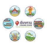 Chiang Khan Thailand loppDesination symboler Arkivbild