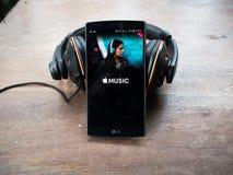 CHIANG MAI, ΤΑΪΛΆΝΔΗ - 15 ΣΕΠΤΕΜΒΡΊΟΥ 2016: οθόνη που πυροβολείται της μουσικής της Apple Στοκ Εικόνα