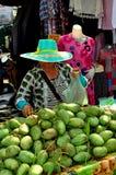 Chiang Mai, Таиланд: Женщина продавая мангоы Стоковые Фото