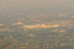 Chiang Mai cityscapesikt från Doi Suthep kullesynvinkel Dig c Fotografering för Bildbyråer