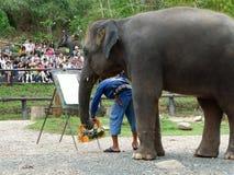 CHIANG MAI, _ DE LA THAÏLANDE LE 6 MAI 2017 : L'exposition de peinture d'éléphant au camp d'éléphant de Maesa, Chiang Mai, Thaïla Images libres de droits