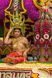 Chiang Mai Flower Festival. CHIANGMAI, THAILAND - FEBRUARY 2: Unidentified Thai Lanna traditionally dressed woman on the parade in Chiangmai Flower Festival 2013 Stock Image