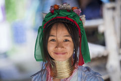 CHIANG MAI Karen Long Neck woman posing for a portrait. Chiang Mai Province, Thailand - November 8, 2014: CHIANG MAI Karen Long Neck woman posing for a portrait Royalty Free Stock Photo