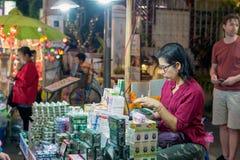 Chiang Mai marknadsnatt thailand Arkivbilder