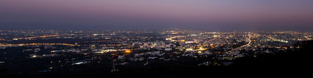 chiang mai night view on view point of doi suthep , chiangmai Stock Photography
