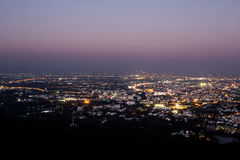 chiang mai night view on view point of doi suthep, thailand Stock Image