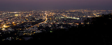 chiang mai night view on view point of doi suthep, thailand Royalty Free Stock Images
