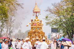 Chiang mai Songkran festival. CHIANG MAI THAILAND-APRIL 13:Chiang mai Songkran festival.The tradition of bathing the Buddha Phra Singh marched on an annual Royalty Free Stock Photography