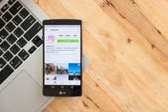 CHIANG MAI, TAILÂNDIA - 5 DE AGOSTO DE 2016: Appli de Instagram da captura de tela Fotografia de Stock