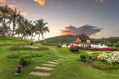 Chiang Mai, Tailândia em Flora Ratchaphruek Park real fotografia de stock royalty free