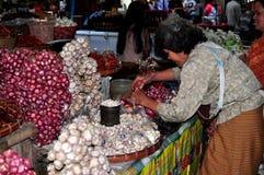 Chiang Mai, Tailândia: Mulher que vende o alho Fotos de Stock