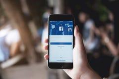 CHIANG MAI, TAILÂNDIA - 30 DE JULHO DE 2017: Tela de início de uma sessão nova Facebook Imagem de Stock Royalty Free