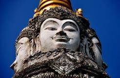 Chiang Mai, Tailandia: Wat Pan Whaen Buddha Faces Foto de archivo