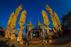 CHIANG MAI TAJLANDIA, LUTY, - 01, 2018: Piękny plenerowy widok niezidentyfikowani ludzie hinduska Duża słoń statua przy Zdjęcia Stock