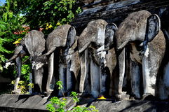 Chiang Mai, TH: Elephant Statues on Thai Temple Royalty Free Stock Photo