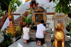Chiang Mai, TH: People Praying at Thai Temple Stock Photography
