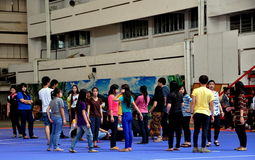 Chiang Mai, TH: Teens in School Yard Royalty Free Stock Image