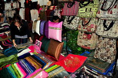 Chiang Mai, TH: Vendor Selling Silks and Pillows Stock Image