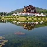 Chiang Mai, Thaïlande, Ho Kham Luang chez Flora Expo royale, architecture thaïlandaise traditionnelle Image libre de droits