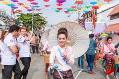 CHIANG MAI, THAÏLANDE 19 JANVIER : 31th parapluie de Bosang d'anniversaire Image libre de droits