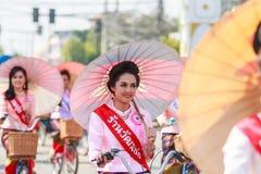 CHIANG MAI, THAÏLANDE 19 JANVIER : 31th parapluie de Bosang d'anniversaire Images libres de droits