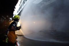 CHIANG MAI, THAÏLANDE 17 MAI : Le feu dans les entrepôts - le feu de crochet dedans Images stock