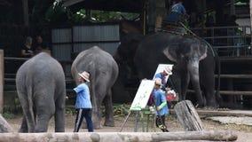 """CHIANG MAI, THAILAND-†""""am 26. Juli 2018: Asien-Elefanten zeigen Malerei im Maetang-Elefantlager stock footage"""