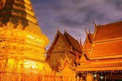 Chiang Mai Thailand - April 11 2017: Berömd tempel Doi Suthep i Thailand Arkivbilder
