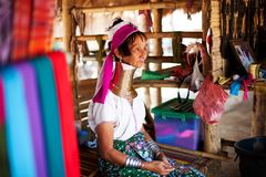 Chiang Mai, Thailand - APRIL 22, 2015: The village of long-necked women. Hilltribe Villages. Karen Long Neck Village Stock Photos