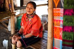 Chiang Mai, Thailand - APRIL 22, 2015: The village of long-necked women. Hilltribe Villages. royalty free stock photography
