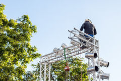 Chiang Mai Thailand -Aug 09: Electrician Installing lights to li Royalty Free Stock Photo