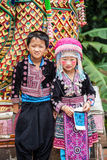 CHIANG MAI, THAILAND - AUGUST 9 : Portrait of unidentified hill. Tribe children with traditional clothes in his village on August 9, 2014 in Chiang Mai stock photo