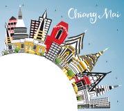 Chiang Mai Thailand City Skyline con los edificios del color, cielo azul libre illustration