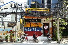 Chiang Mai, Thailand - December 20, 2017: View on a small colorful hostel. stock photography