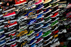 Chiang Mai, Thailand: Display of Sneakers Stock Images