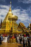 Chiang Mai, Thailand - 2015: Doi Suthep temple. Chiang Mai, Doi SUthep temple. In the photo the temple can be seen together with a group of people Stock Photo
