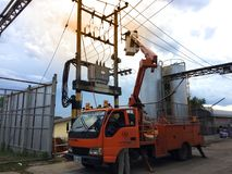 Chiang Mai, Thailand 31/3/2018 Electrical Power Repairs on Elect royalty free stock images