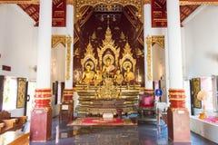 Chiang Mai, Thailand - 24 februari 2015: Buddastandbeelden in Wat Chang Stock Foto