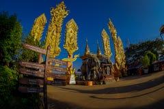 CHIANG MAI THAILAND - FEBRUARI 01, 2018: Härlig utomhus- sikt av oidentifierat folk av den hinduiska stora elefantstatyn på Royaltyfri Foto