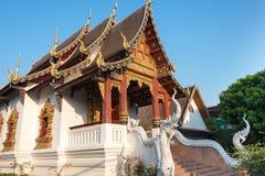 Chiang Mai Thailand - Februari 24 2015: Wat Chang Taem en berömda Te Royaltyfri Foto