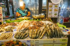 Woman market vendor smiles behind counter of squid, prawns and o Royalty Free Stock Image