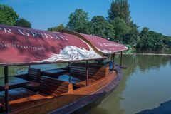 CHIANG MAI, THAILAND - FEBRUARY 18: river boat cruise for rent waiting for tourists to experience the atmosphere of the Ping River. In Chiang Mai. It is a Royalty Free Stock Images